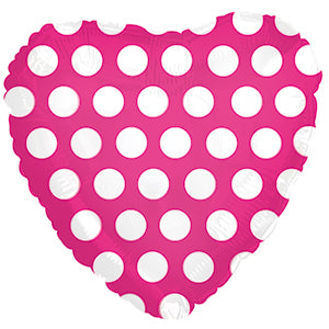 Hot Pink with White Polka Dots Heart