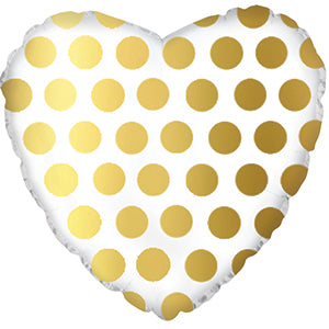 White with Gold Polka Dots Heart