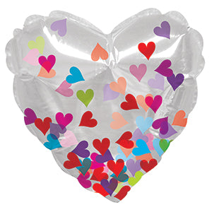 Clear Confetti Heart Air-Filled Stick Balloon