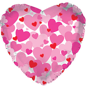 Pink Hearts- Clear Air-Filled Stick Balloon