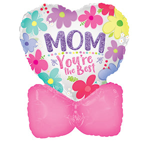Mother's Day Heart with Bow Air-Filled Stick Balloon