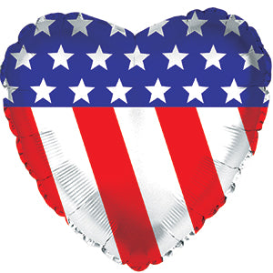 Patriotic Heart Air-Filled Stick Balloon