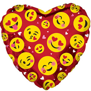 Smile Faces Red Heart Air-Filled Stick Balloon