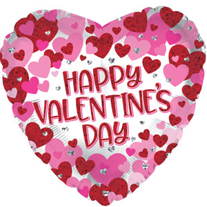 Happy Valentine's Day Diamond Hearts Air-Filled Stick Balloon