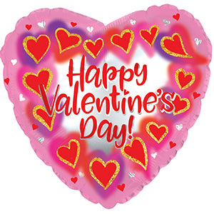 Happy Valentine's Day Glitter Frame Heart Air-Filled Stick Balloon