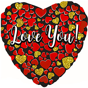 Love You Glitter Gold-Red Air-Filled Stick Balloon