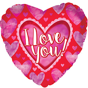 I Love You Watercolor Hearts Air-Filled Stick Balloon