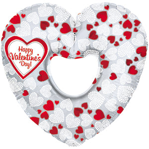 Happy Valentine's Day Mosaic Hearts Air-Filled Stick Balloon