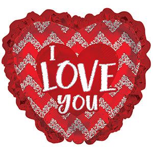 I Love You Red Glitter Heart with Ruffles