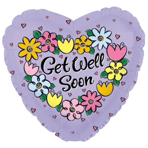Get Well Soon Daisies & Tulips  Air-Filled Stick Balloon