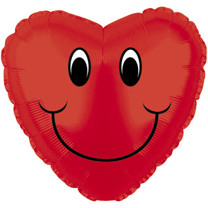 Smiley Face Heart Red