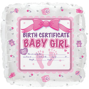 Baby Girl Birth Certificate