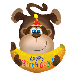 Happy Birthday Monkey Air-Filled Stick Balloon