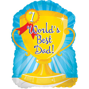 World's Best Dad Trophy Air-Filled Stick Balloon