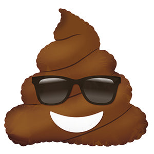 Poop with Sunglasses Emoticon Air-Filled Stick Balloon