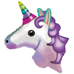 Unicorn Emoticon Air-Filled Stick Balloon