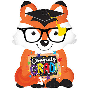 Congrats Grad Fox Air-Filled Stick Balloon