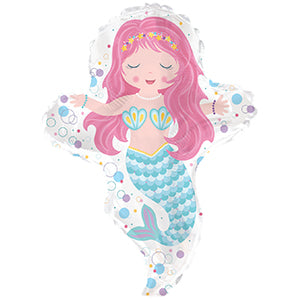 Mermaid Girl Air-Filled Stick Balloon