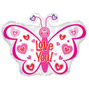 Love You Pink Hearts Butterfly