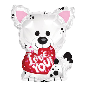 Love You White Puppy Air-Filled Stick Balloon