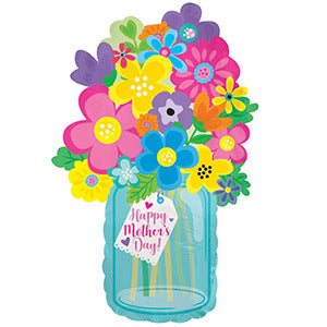 Happy Mother's Day Blue Mason Jar Air-Filled Stick Balloon