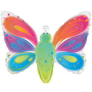 Watercolor Butterfly Air-Filled Stick Balloon