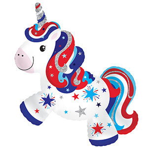 Patriotic Unicorn Air-Filled Stick Balloon