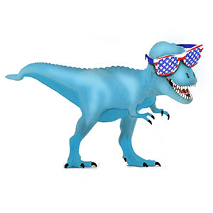 Blue Patriotic Dinosaur Air-Filled Stick Balloon