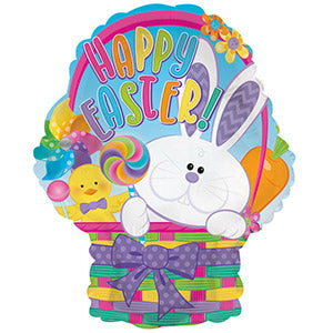 Happy Easter Basket Air-Filled Stick Balloon