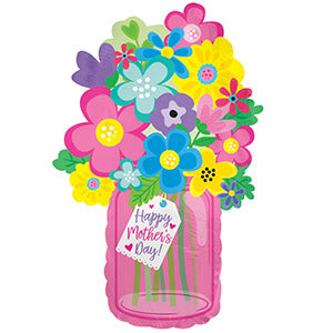 Happy Mother's Day Flower Jar Air-Filled Stick Balloon
