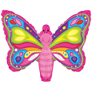 Bright Butterfly Air-Filled Stick Balloon