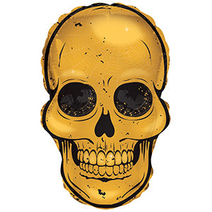 Gold Skull Air-Filled Stick Balloon