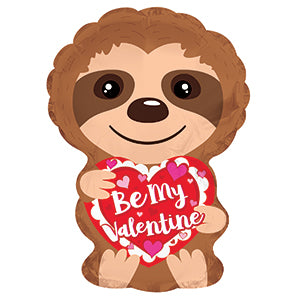 Be My Valentine Sloth Bat Cat Air-Filled Stick Balloon