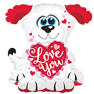 Love You Doggie Air-Filled Stick Balloon