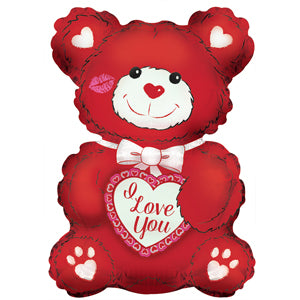 I Love You Red & White Teddy Bear Air-Filled Stick Balloon