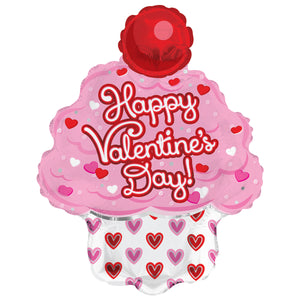 Happy Valentine's Day Cupcake Air-Filled Stick Balloon