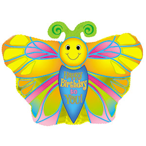 Happy Birthday Butterfly Air-Filled Stick Balloon
