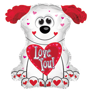 Love You Red and White Doggie Air-Filled Stick Balloon