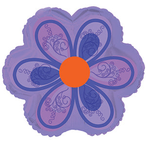 Purple Flower with Swirls