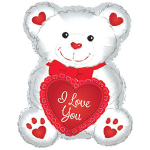 I Love You White and Red Teddy