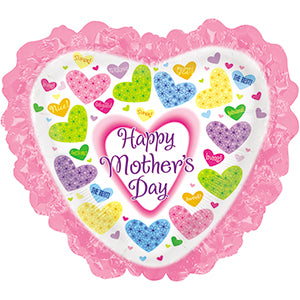 Happy Mother's Day Flowered Hearts Heart with Ruffle