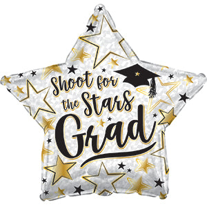 Shoot for the Stars Grad Prismatic Air-Filled Stick Balloon