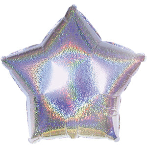 Silver Dazzle Star Air-Filled Stick Balloon