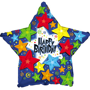 Happy Birthday Primary Color Stars Air-Filled Stick Balloon