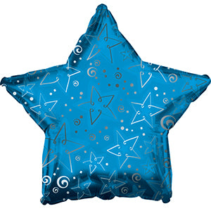 Blue Pattern Star Air-Filled Stick Balloon