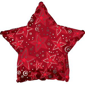 Red Pattern Star Air-Filled Stick Balloon
