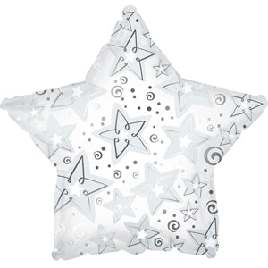 White Pattern Star Air-Filled Stick Balloon