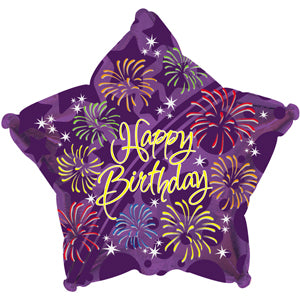 Purple Happy Birthday Fireworks Air-Filled Stick Balloon