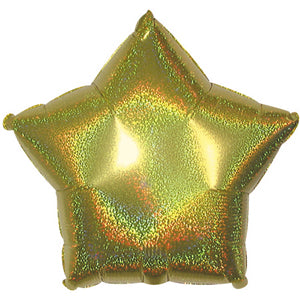 Gold Dazzle Star Air-Filled Stick Balloon