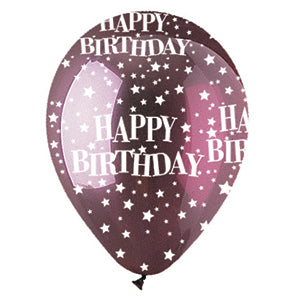 Burgundy Happy Birthday Stars Crystal Latex All-Around Print